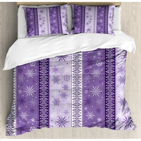 - Ethnic Queen Size Duvet Cover Set, Arabesque Scroll Western Christmas Snowflakes Middle Eastern Noel Print, Decorative 3 Piece Bedding Set with 2 Pillow Shams, Lavender Violet White, by Ambesonne