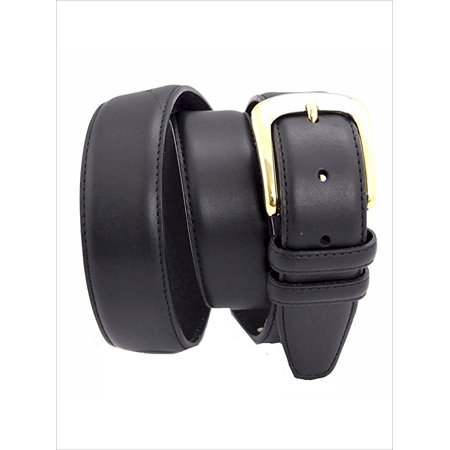 """Black Leather Padded Casual Belt 1.5"""" Made in the USA Big Sizes … (38, Black)"""
