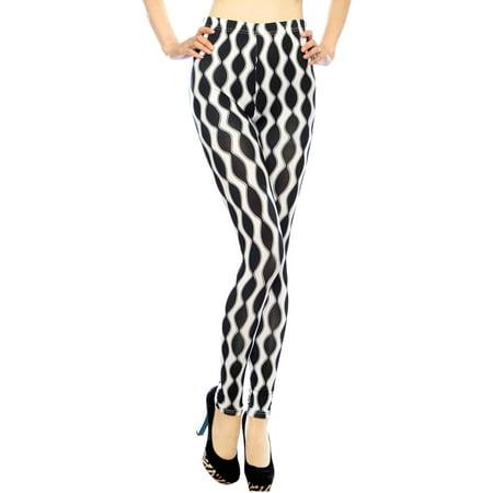 915ace2292ab2 Simplicity - Simplicity Soft Horizontal Striped Leggings w/ Back Pockets,  2-Black/White - Walmart.com