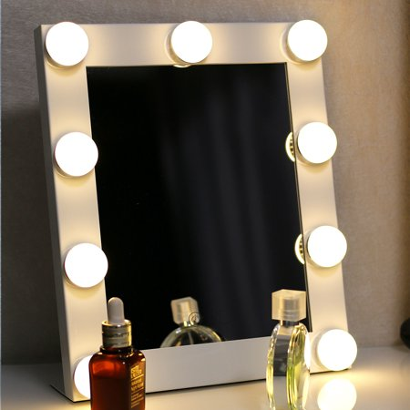 LuckyFine Hollywood LED Vanity Mirror With Light Plug In Tabletops Lighted Mirror with Dimmer Stage Beauty (Best Luckyfine Mirrors)
