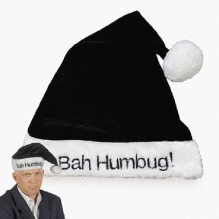 Black Bah Humbug Santa Hat Christmas Scrooge Grinch Holiday Party Joke Gag Prop
