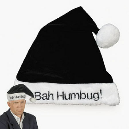 Black Bah Humbug Santa Hat Christmas Scrooge Grinch Holiday Party Joke Gag - Bah Humbug Hat