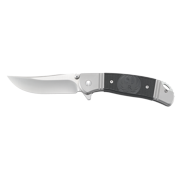 Crkt Ruger Hollow-Point +P R2301 Folding Knife With Satin Finish 8Cr13Mov Plain Edge Clip Point Blade With Brushed Stainless Steel Double Bolster Handle With Black Glass-Reinforced Nylon Handle Inlays