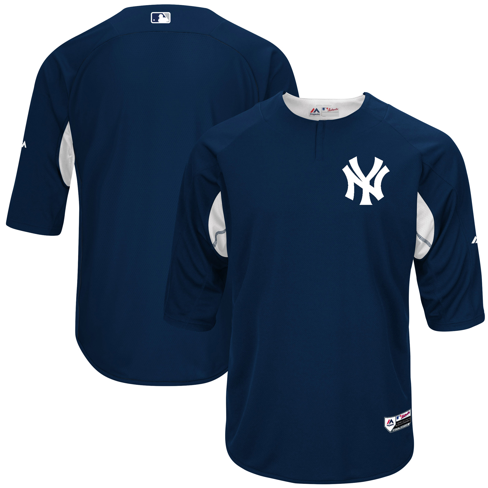 New York Yankees Majestic Authentic Collection On-Field 3/4-Sleeve Batting Practice Jersey - Navy/White