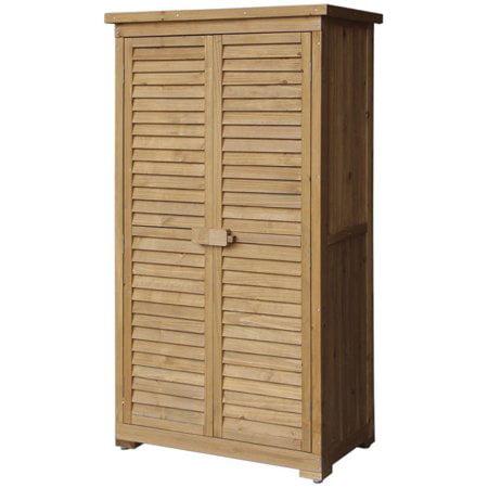 Merax Wooden Garden Shed Wooden Lockers with Fir Wood Shutter Design