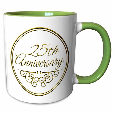 3dRose 25th Anniversary gift - gold text for celebrating wedding anniversaries - 25 years married together - Two Tone Green Mug,