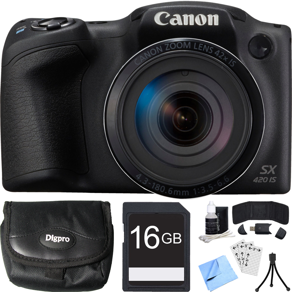 Canon PowerShot SX420 IS 20MP Black Digital Camera 16GB Card Bundle includes Camera, 16GB Memory Card, Reader, Wallet, Case, Mini Tripod, Screen Protectors, Cleaning Kit and Beach Camera Cloth