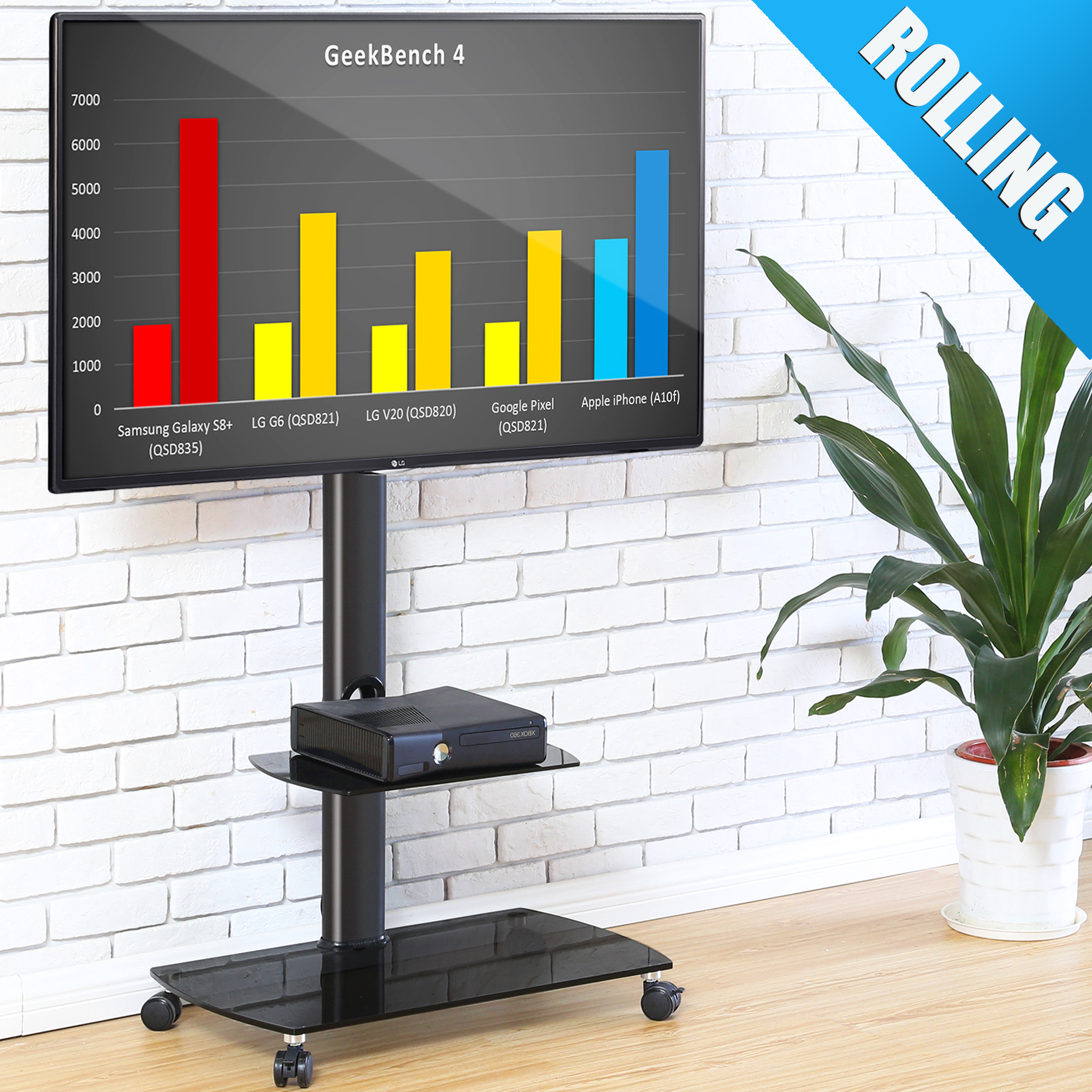 """Rolling TV Stand Cart Mount for OLED fits 32/"""" Flat Screen 65/"""" LED"""