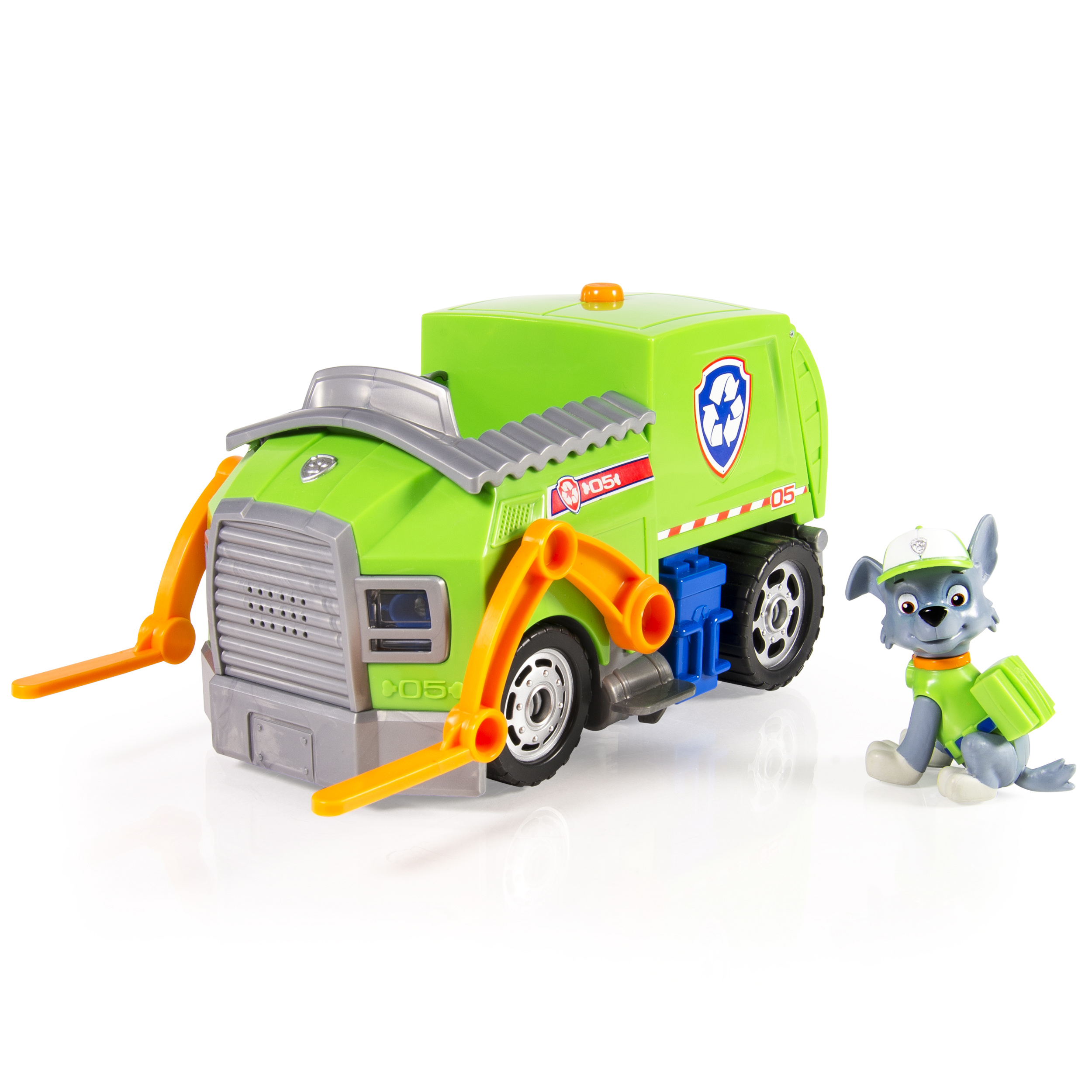 <p>Paw Patrol Rocky's Lights and Sounds Recycling Truck Vehicle and Figure</p>