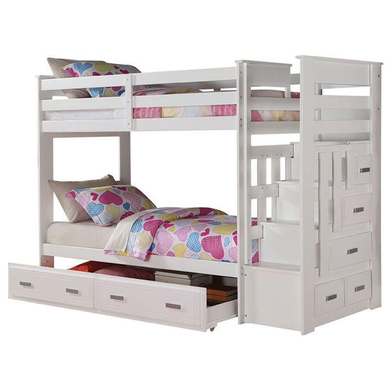 ACME Allentown Twin over Twin Bunk Bed with Storage, Multiple Colors