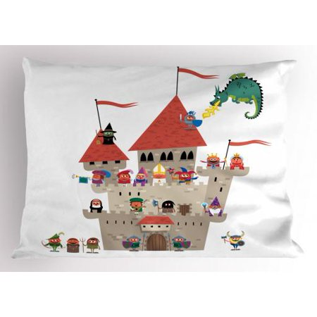 Fantasy Pillow Sham Cartoon Kingdom with All Noble Fairytale Characters and a Dragon Spitting Fire, Decorative Standard Size Printed Pillowcase, 26 X 20 Inches, Multicolor, by