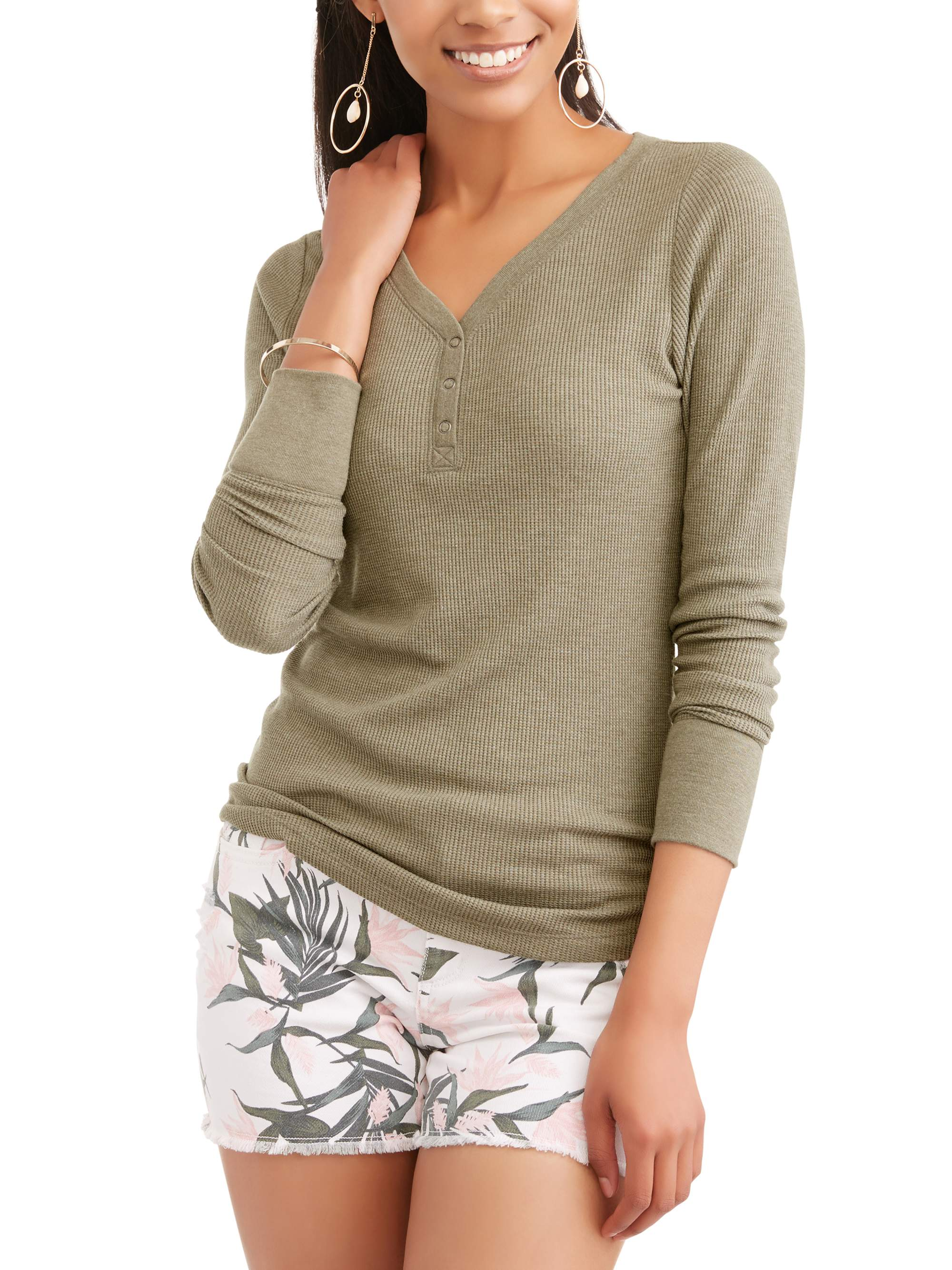 Women's Long Sleeve Thermal Henley T-Shirt