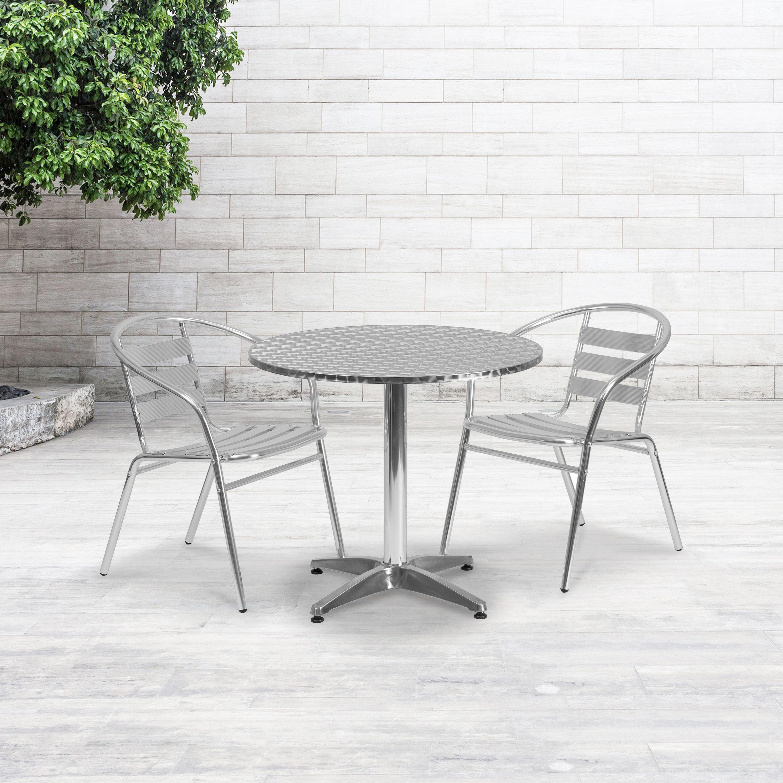 Flash Furniture 31.5\'\' Round Aluminum Indoor-Outdoor Table with Base -  Walmart.com
