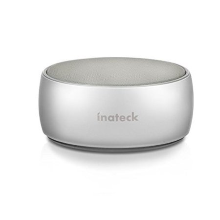 Ultra Portable iPhone Speaker, Inateck Wireless Bluetooth Speaker with Aluminum Body, Enhanced Bass and Superior Sound, for iPhone, iPad, Samsung, Nexus, HTC and More - Silver