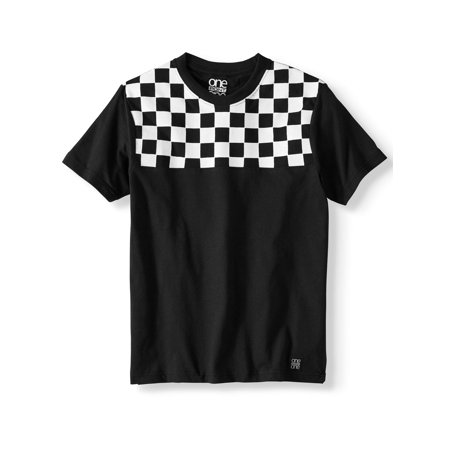 One Point One Short Sleeve Racing Stripe Shoulder Block Tee Shirt (Big Boys)
