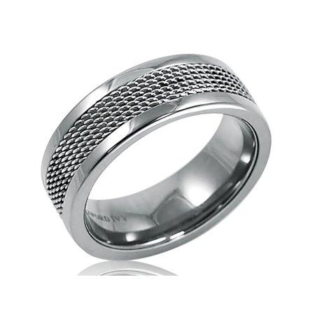 Mens 8mm Titanium Comfort Fit Mesh Inlay Wedding Band (Choose Your Ring Size 8-12 1/2) (Inlay Titanium Band Ring)