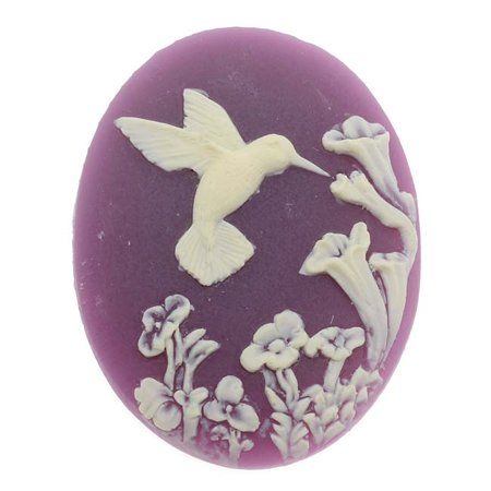 Vintage Style Lucite Oval Cameo Purple W/ Ivory Hummingbird And Flowers 40x30mm