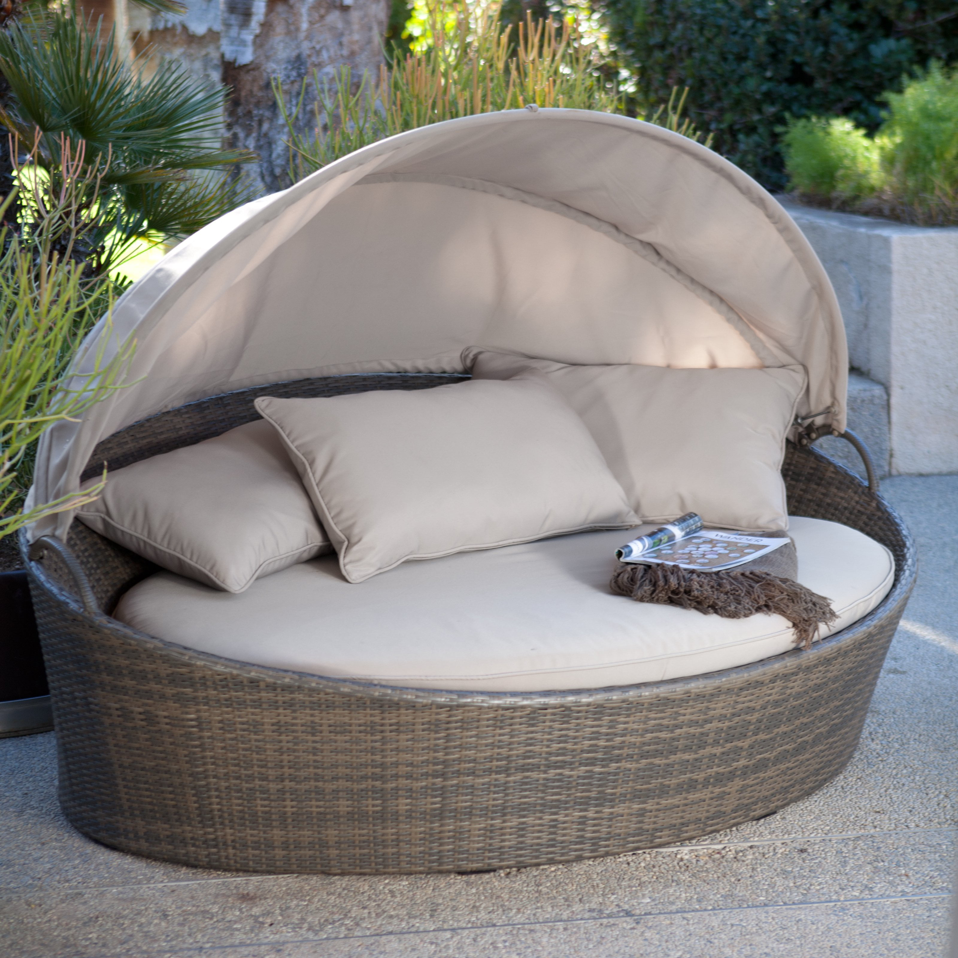 Superbe Creative Living Moorea All Weather Wicker Cabana Day Bed With Canopy    Walmart.com
