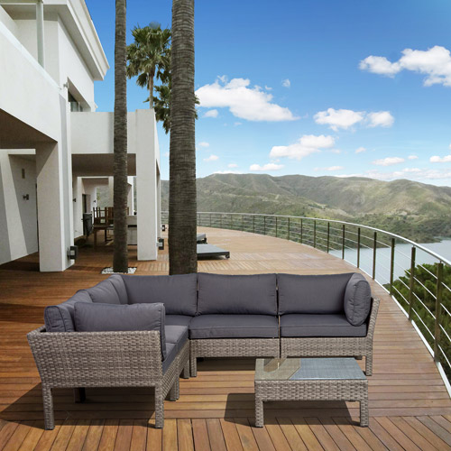 Infinity 6-Piece Wicker Outdoor Seating Set, Grey with Grey Cushions