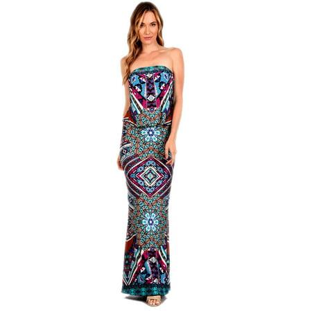 S-TWELVE Strapless Placement Print Maxi Dress w/Elastic Waist, -
