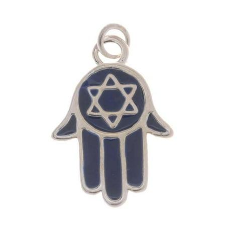 Simple Jewish Star Charm - Silver Plated With Blue Enamel - Jewish Star Of David Hamsa Hand Charm 19mm (1)