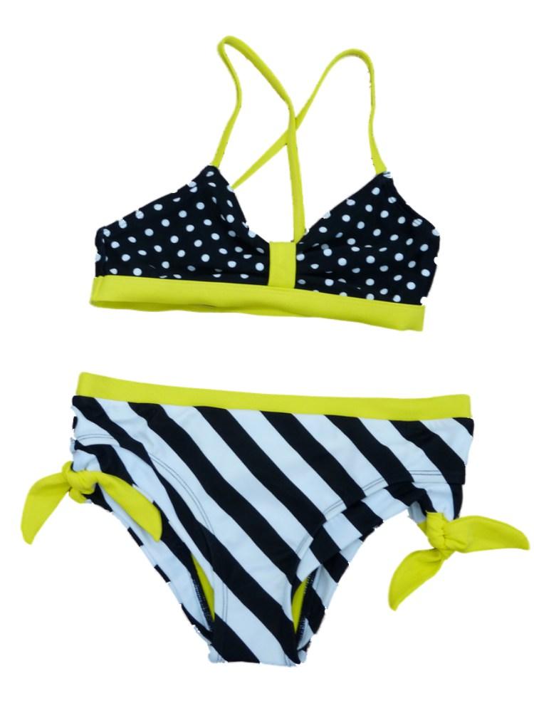 Joe Boxer Girls Black & White Stripe Swimming Suit Swim Polka Dot Bikini 2 PC