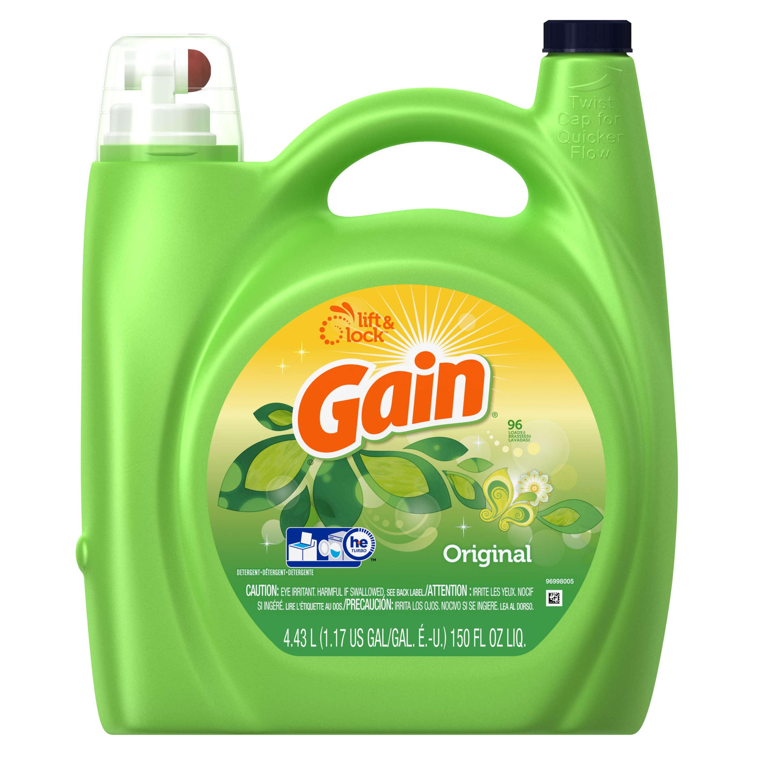 Gain Liquid Laundry Detergent, Original Scent, 96 Loads, 150 Oz