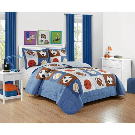 Fancy Linen 3pc Full Quilt Bedspread Boys Sport Football Basketball Baseball New ()