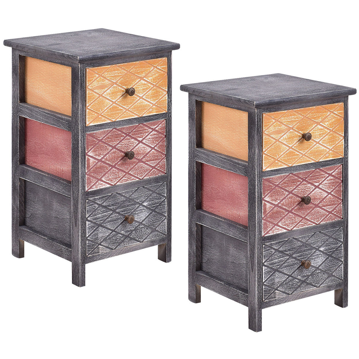 Gymax 2PCS Wooden Bedside Nightstand Table 3 Drawers