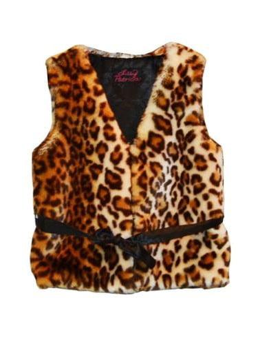 Little Girls Brown Leopard Faux Fur Vest 5-6