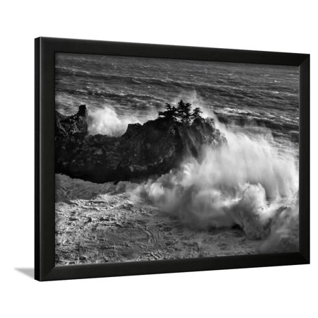 California, Big Sur, Big Wave Crashes Against Rocks and Trees at Julia Pfeiffer Burns State Park Framed Print Wall Art By Ann Collins