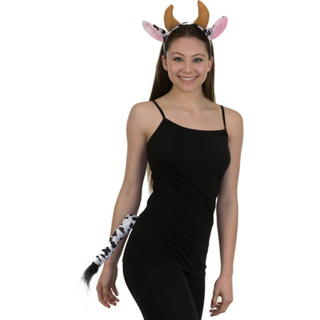 Velvet Cow Ears Headband and Tail Costume Accessory Set