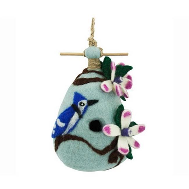 DZI Handmade Designs DZI484028 Chinaberry Blue Jay Felt Birdhouse