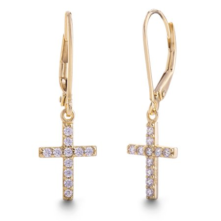 Ladies White Cubic Zirconia Cross Dangle Earrings in Yellow Gold Plated Sterling Silver ()