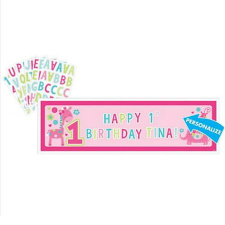 1st Birthday 'One Wild Girl' Giant Customizable Banner Kit (1ct) (First Communion Banner Kit)