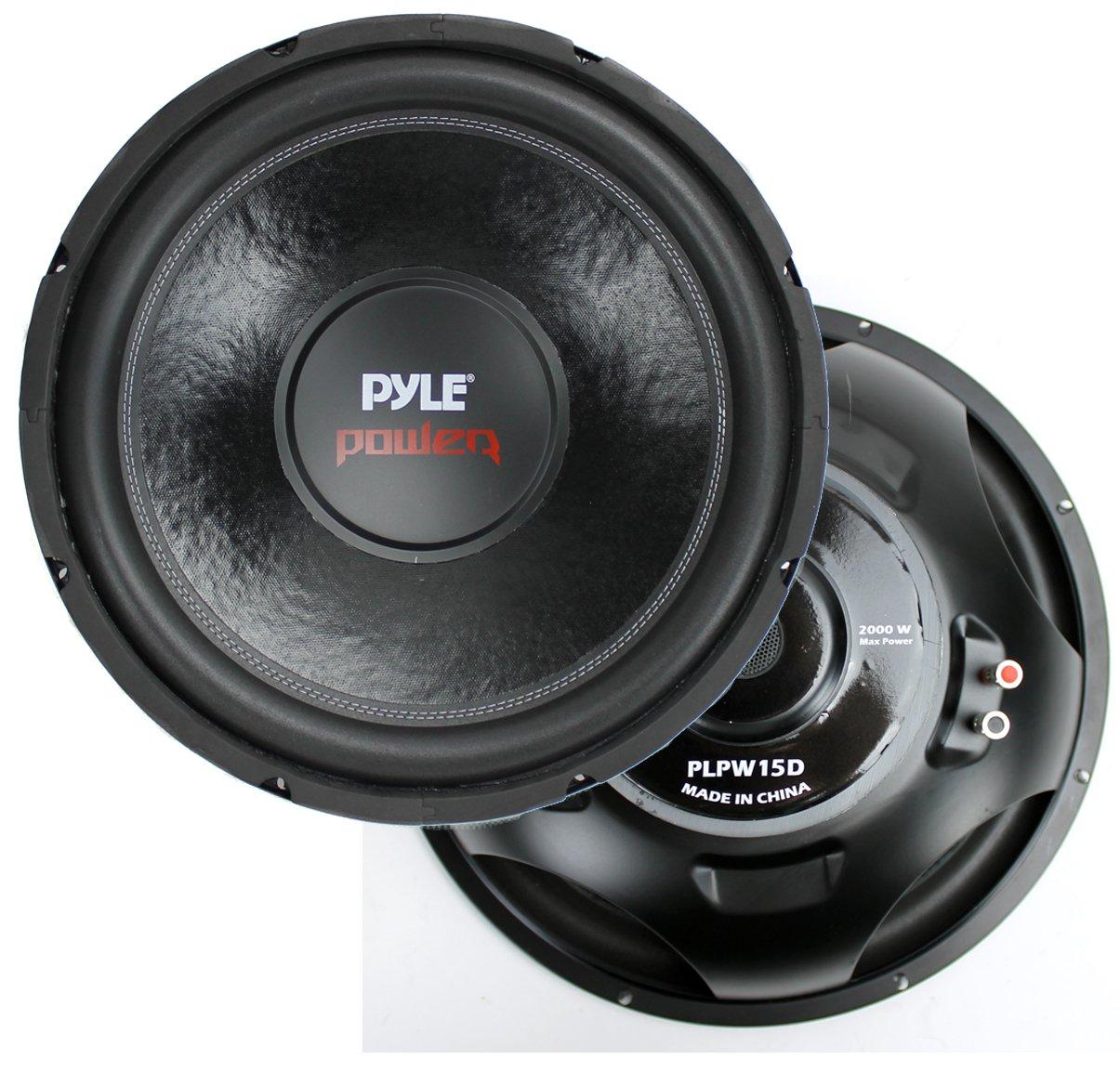 """2) New Pyle PLPW15D 15"""" 2000 Watt 4-Ohm DVC Power Car Audio Subwoofer Sub Woofer"""