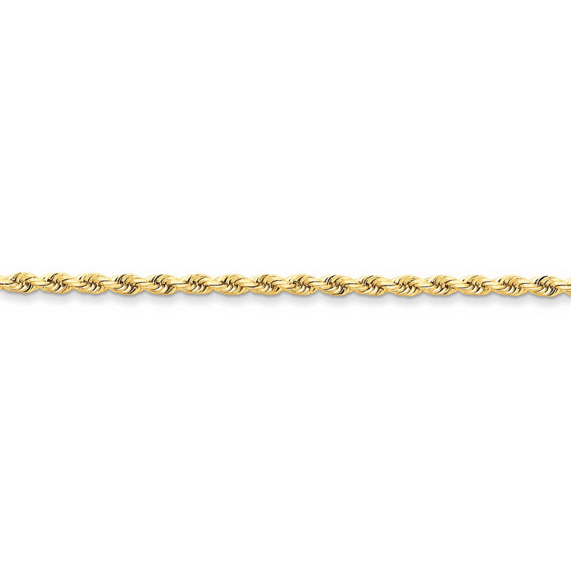 14k Yellow Gold 7in 3mm D C Rope with Lobster Clasp Chain Bracelet by Kevin Jewelers