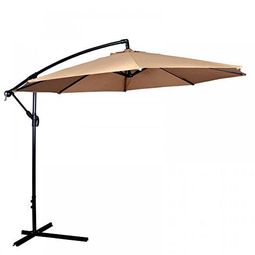 New Tan Patio Umbrella Offset 10' Hanging Umbrella Outdoor Market Umbrella D10 by FDW