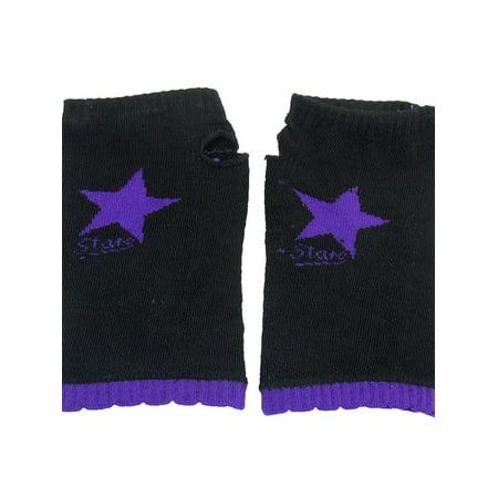 5 Star Gloves (Women Purple Star Print Flower Brim Stretchy Knit Fingerless Gloves Black)