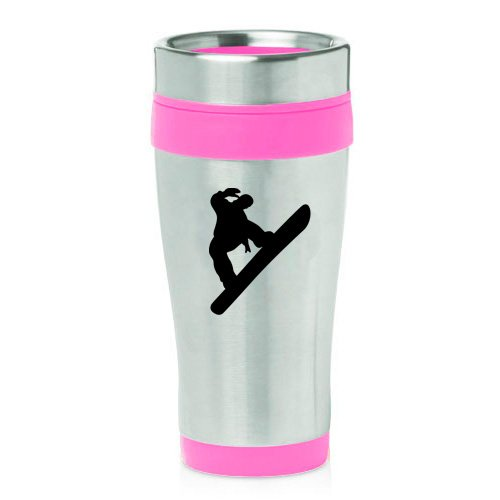 16oz Insulated Stainless Steel Travel Mug Snowboard Snowboarder (Pink ) by