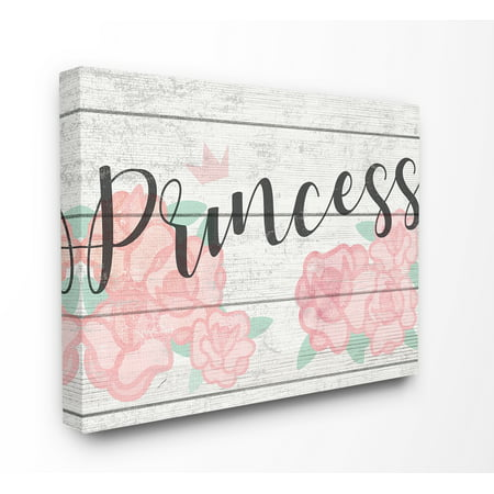The Kids Room By Stupell Pink Roses Princess with Crown Planked Look Sign Canvas Wall Art