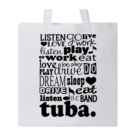 Funny Tuba Player Music Band Gift Tote Bag White One Size