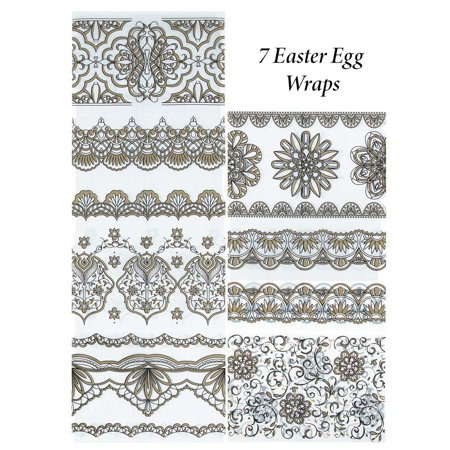 - Set of 7 Golden Vintage Style Patterns Easter Egg Wraps