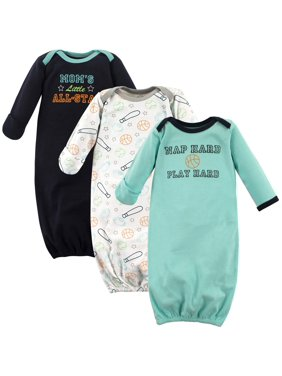 Luvable Friends Baby Boy Gowns, 3-pack