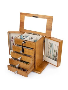 Kendal Real Natural Hardwood Wooden Jewelry Box, Locked with a Key, Large