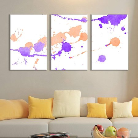 wall26 - 3 Panel Canvas Wall Art - Purple and Orange Paint Toss Single Splatters Watercolor Decor - Giclee Print Gallery Wrap Modern Home Decor Ready to Hang - 16