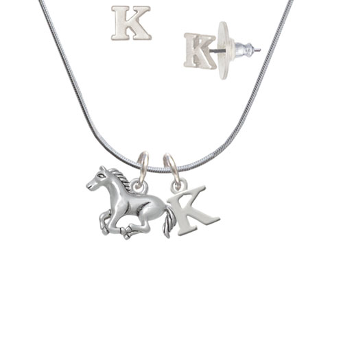Running Horse - 2 Sided - K Initial Charm Necklace and Stud Earrings Jewelry Set
