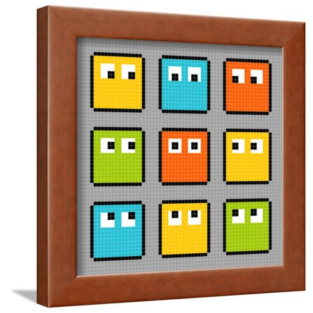 8-Bit Pixel Block Characters Looking in Different Directions Framed ...