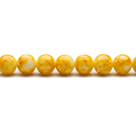 Sunshine Yellow Marble Grain Patterned Glass Beads 12mm Round 76-Bead Count 32In