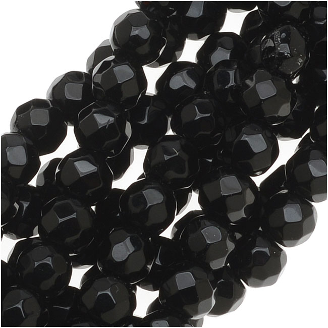 Black Agate Faceted Round Gemstone Beads 4mm - 15 Inch Strand